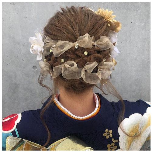 【成人式】リボン×ドライフラワーヘア