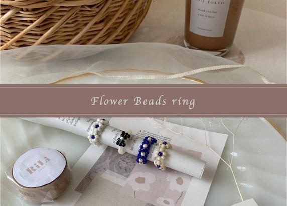 お花のビーズリングの作り方🧺🍃イラスト&動画付き🌼