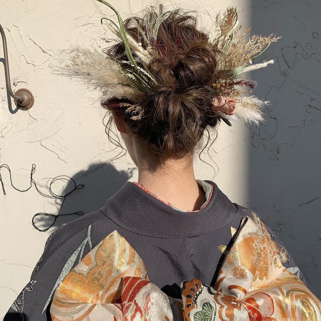【成人式】ドライフラワーヘア