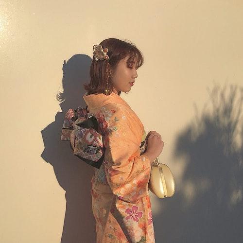 【成人式】オレンジ着物