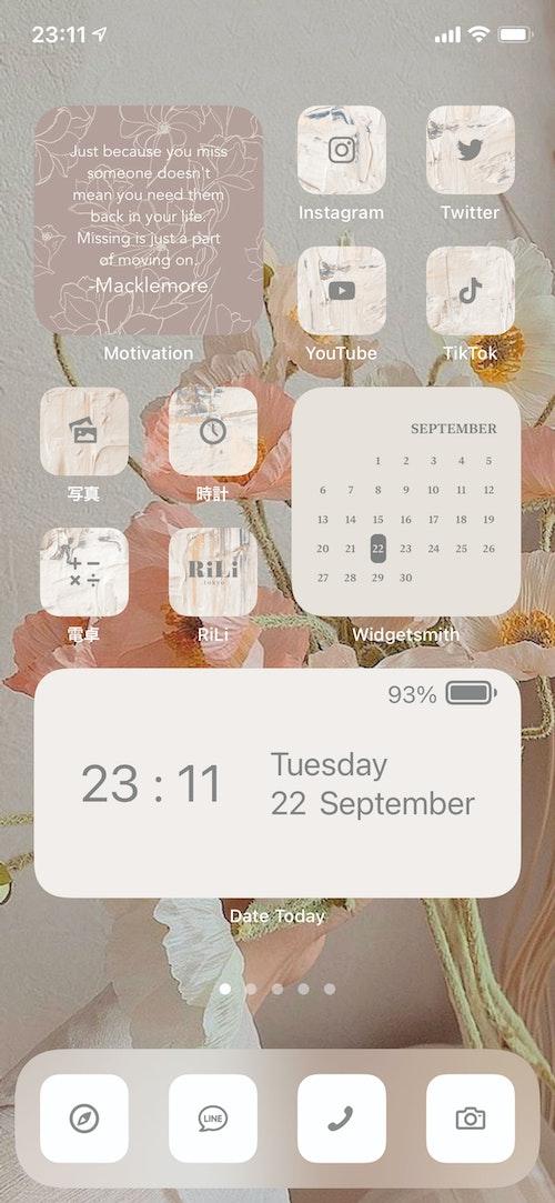 使用アプリ:Motivation、Widgetsmith、Date Today Motivationの背景はRiLiで配布している壁紙を使いました。