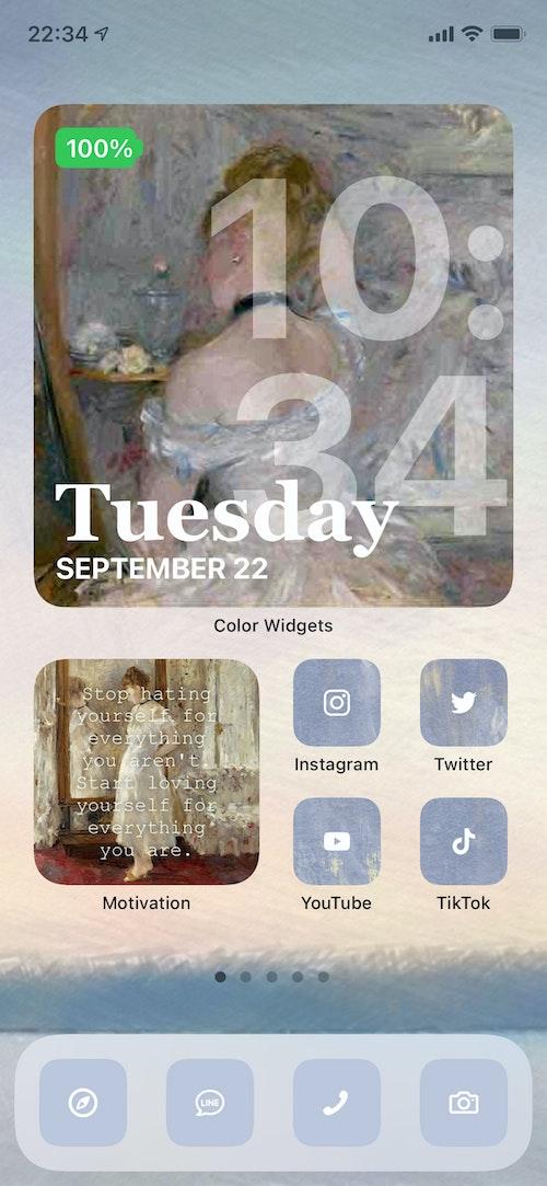 使用アプリ:Color Widgets、Motivation 印象派を代表する画家、ベルト・モリゾの絵画をデザインに使用してみました。