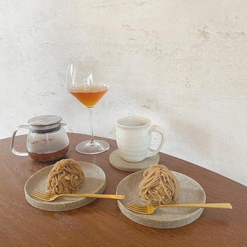 お茶とお花とモンブラン