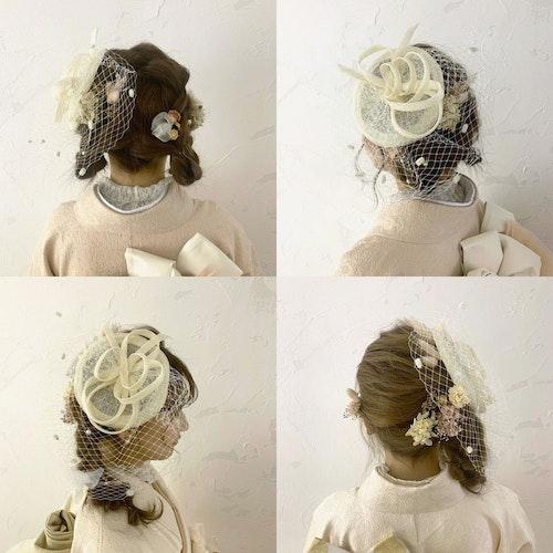 あみちゃんは片寄せ編みおろし、みゆちゃんはひつじヘアで、360度かわいいヘアスタイル🎀パールのUピンとドライフラワーもバランスよく散らばせて。